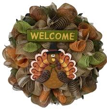 thanksgiving turkey pilgrim welcome wreath handmade deco mesh