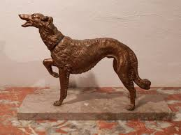 antique french bronze art deco russian dog statue sculpture