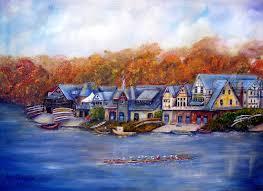 Boat House Row - paintings by loretta luglio fine art impressionism realism