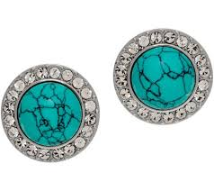 button earrings grace collection simulated turquoise button earrings qvc