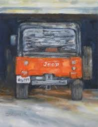 jeep christmas wreath daily painting projects red jeep oil painting car art antique