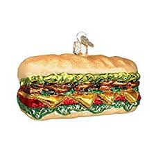 world deli sandwich glass blown ornament