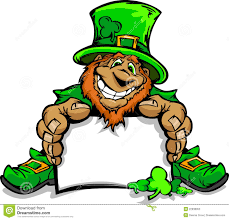 smiling st patricks day leprechaun holding sign stock vector