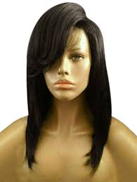 low hight hair synthetic wigs deep brown medium side bang high low straight bob
