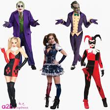 deluxe joker harley quinn batman halloween mens ladies fancy