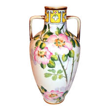 Nippon Hand Painted Vase Nippon Morimura Urn Vase Hand Painted Double Handles With Wild