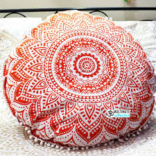 Pink Round Cushion Online Opal Round Cushion Cover Pom Pom Round Mandala Fl
