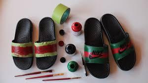 how to make custom gucci x nike sandals youtube
