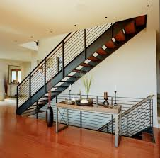 metal stair railings with wood stair bannister staircase