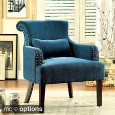 Teal Blue Accent Chair Furniture Of America Audellie Contemporary Floral Club Chair