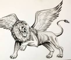 scary lion tattoo with wings tattooshunter com