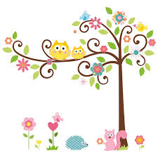 large owl swing flower tree wall decal removable stickers decor 12