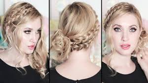 prom wedding party hairstyles braided side swept curls medium