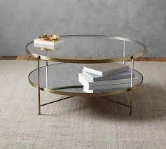 glass coffee table with glass shelf tiered brass framed glass round coffee table