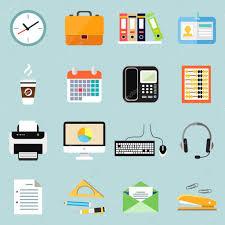 affaires de bureau ensemble d icônes affaires bureau papeterie image vectorielle