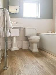 Wood Floor Bathroom Ideas Tile Up To Splashback Height In Metro Then Larger Format Tiles