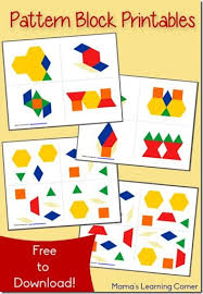 free pattern block printables are a great early math activity for