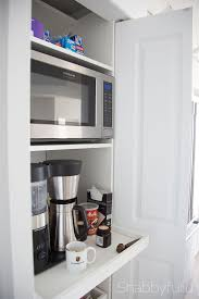 Hide Microwave In Cabinet How To Build A Hidden Coffee Station And Microwave Shabbyfufu