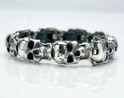 mens bracelet with skull images Custom skull sterling silver 925 gothic skull bracelet bones jpg