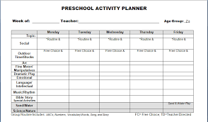 best photos of free printable preschool lesson plan template