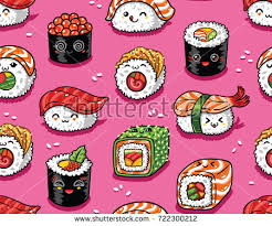 cuisine kawaii seamless pattern rolls sushi เวกเตอร สต อก 722300212
