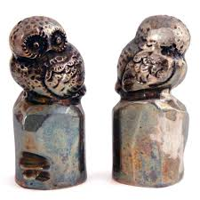 pair of vintage japanese sterling silver owl salt and pepper shakers