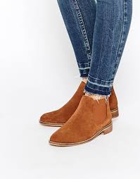 womens boots asos lyst asos america suede chelsea ankle boots in brown