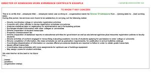 director of admissions work experience certificate