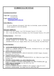 Chemist Resume Manish Resume Macleods