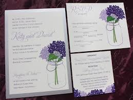 jar wedding invitations lapis lavender purple hydrangeas in a jar wedding