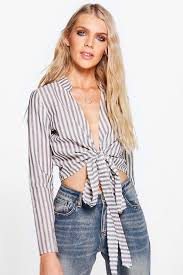 tie front blouse kerry striped cotton tie front blouse boohoo