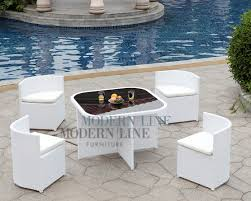 White Patio Dining Set by Modern Line Furniture Commercial Furniture Custom Made