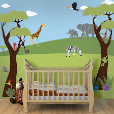 cute jungle wall art for kids rooms contemporary baby crib feat light wood floor and