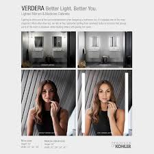 Lighted Medicine Cabinet With Mirror Kohler Verdera 24 In W X 30 In H Recessed Or Surface Mount
