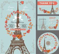 Eiffel Tower Wedding Invitations Wedding Invitation Set With Autumn Leaves Wreath Pigeons Swirling