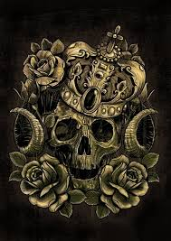 skull in crown and roses design by andre77rodrigues