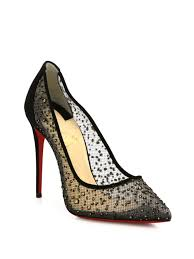 christian louboutin follies strass 100 mesh point toe pumps in