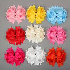 wholesale hairbows wholesale 4 5 solid stacked spike hair bows hairbows mix