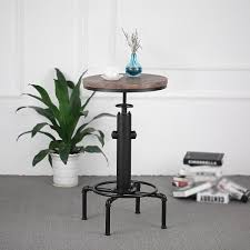 Industrial Bistro Table Ikayaa Pinewood Top Round Pub Bar Table Height Adjustable Sales