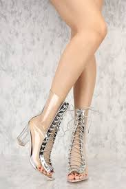 silver front lace up clear chunky heel booties patent