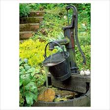 water and rock garden with old water pumps garden u0026 plant