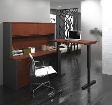 L Desk With Hutch Desk With Hutch Including Electric Height Adjustable Table