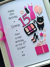 handmade 14th 15th 16th 17th birthday card for personalised