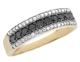 gold band ring mens white gold finish black diamond 8mm fashion band ring