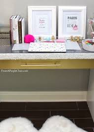 Ikea Hack Office Diy Malm Vanity Makeover White And Gold Vanity Desk Decor