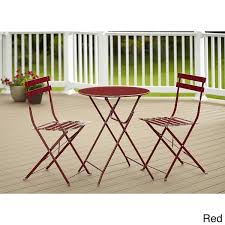 Folding Bistro Table And Chairs Set Cosco 3 Piece Folding Bistro Set Free Shipping Today Overstock