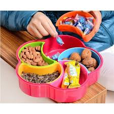 Decorative Plastic Plates Fruit Plate Snacks Food Container With Lid Decorative Plastic
