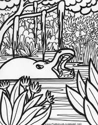 jungle trees coloring page with hippopotamus animal at water lake
