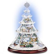bradford exchange home decor thomas kinkade animated crystal tabletop christmas tree holiday