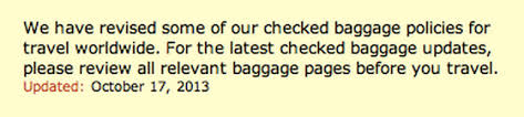 how often does united change their baggage policy running with